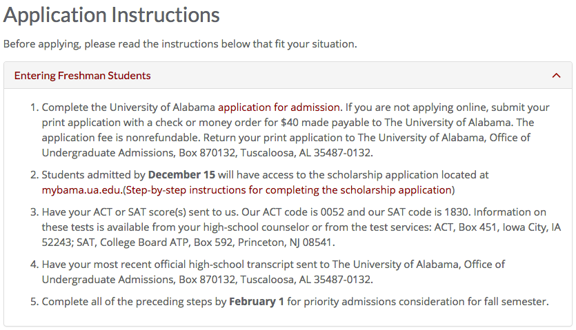 University of Alabama's application instructions
