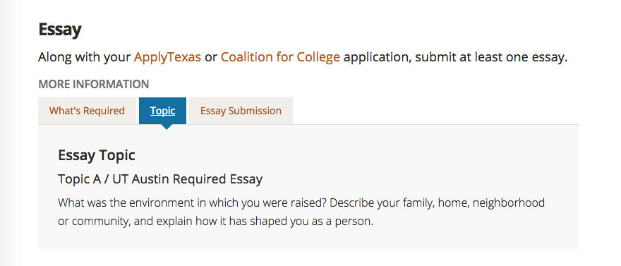 University of Texas required essay