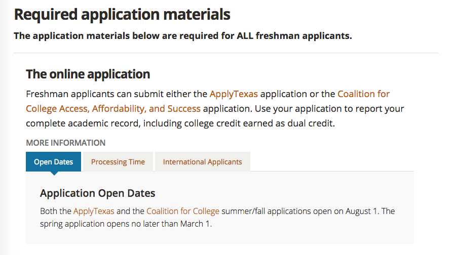 University of Texas required application materials