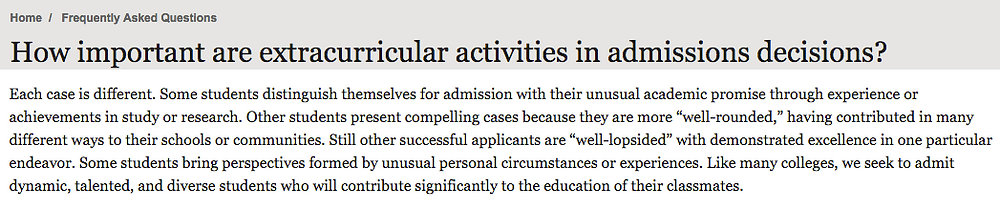 Harvard's explanation of how extracurriculars affect admissions