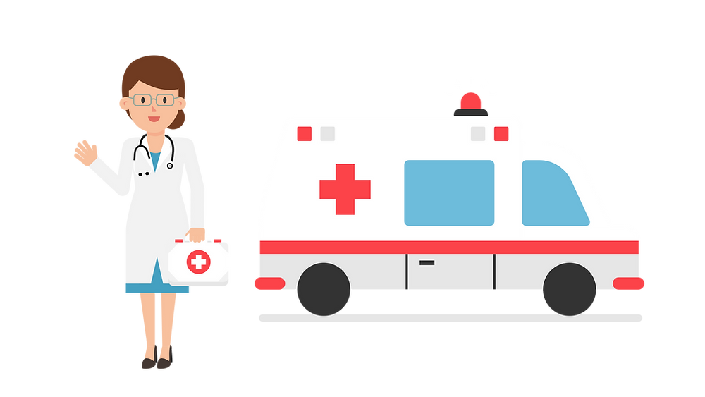 Female doctor standing next ambulance