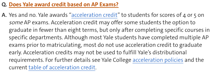 Yale's explanation of credits for AP scores
