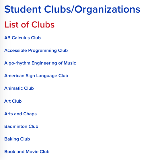 Westlake High School list of clubs