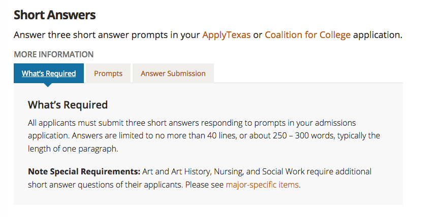 University of Texas required short answers