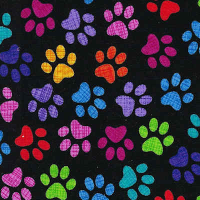 Calming Collar   Paw Prints on Black