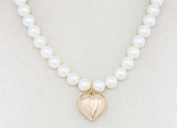 Pearl Look Puffy Heart Pendant Necklace & Earrings Set