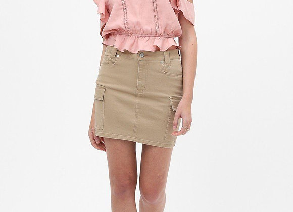 Trendy Khaki Cotton Mini Skirt