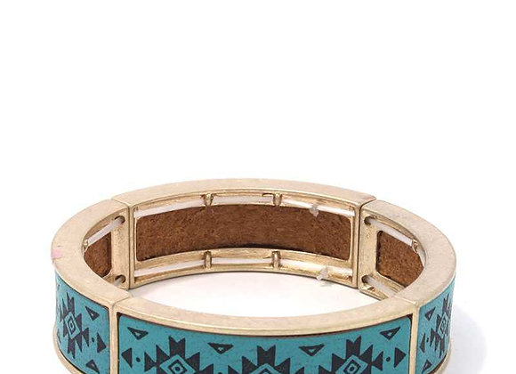 Turquoise Blue Aztec Pattern Metal Stretch Bracelet