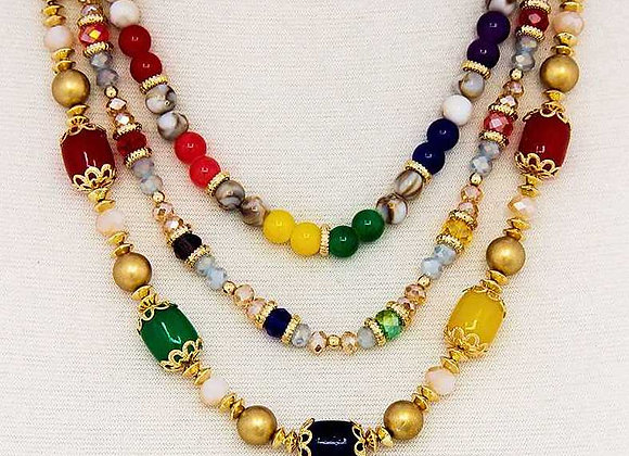 Multi-Beaded 3 Layer Necklace & Earring Set