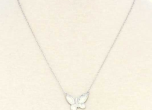 Dainty Silver Butterfly Charm Necklace