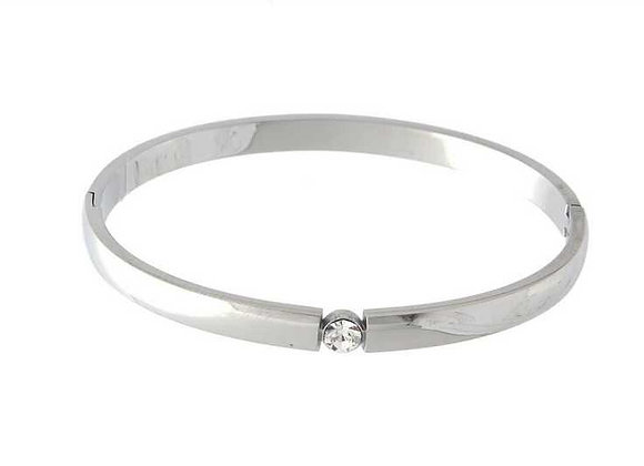 Cubic Zirconia Stainless Steel Silver Bangle