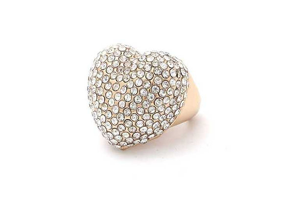 Silver & Rose Gold Color Rhinestone Heart Ring