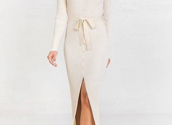 Ivory Ribbed Sweater Knit Maxi Dress
