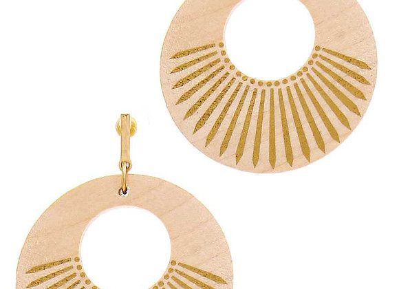 Natural Beige Wooden Circle Drop Earrings