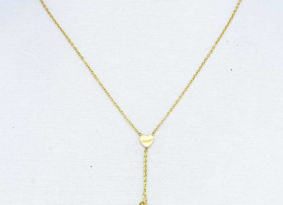 """Mini Heart Gold """"Y"""" Necklace And Earrings Set"""
