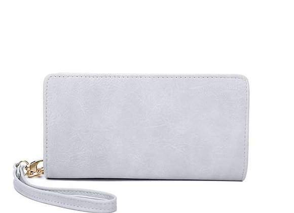 White Multi-Zip Wallet with Hand Strap