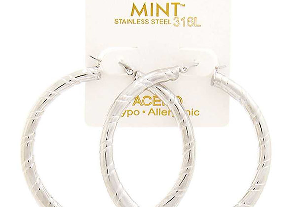 Classic Silver Twisted Detail Hoop Earrings