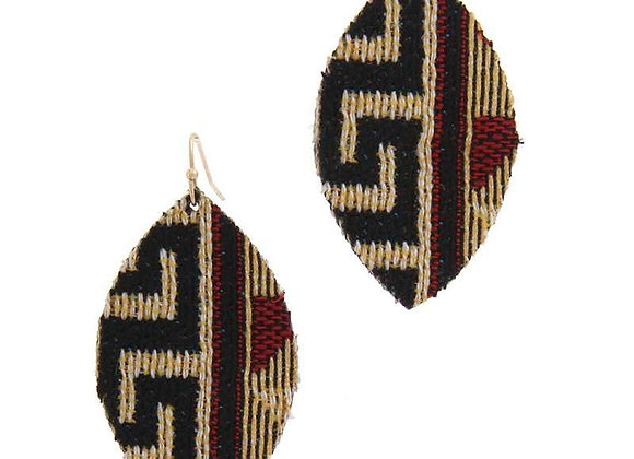 Aztec Tribal Print Fabric Drop Earrings