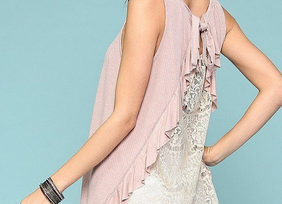 Soft Pink Back Tie & Lace Tank Top