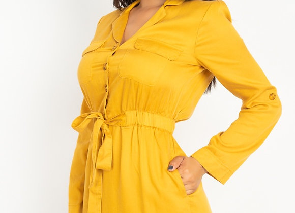 Trendy Mustard Color Belted Wrap Shirt Dress