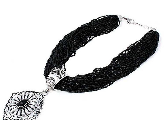 Black Multi-Strand Beaded Necklace W/Silver Pendant