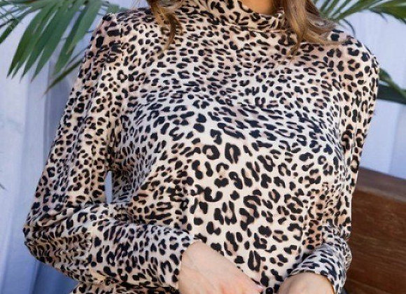 Leopard Print Long Sleeve Top W/Cut-Out Back
