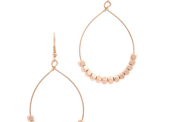 Rose Gold Color Beaded Metal Drop Earrings