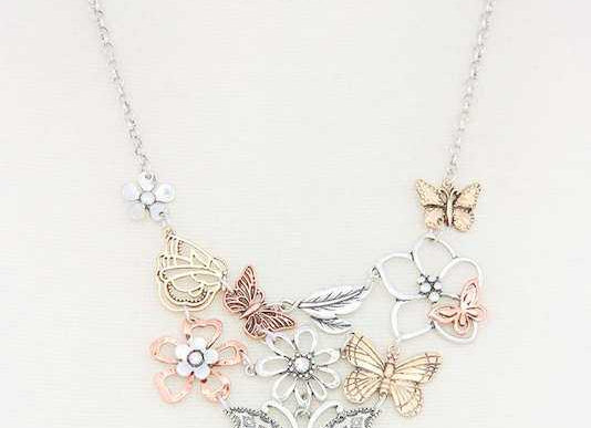 Rose Gold & Silver Butterfly Statement Necklace & Earring Set