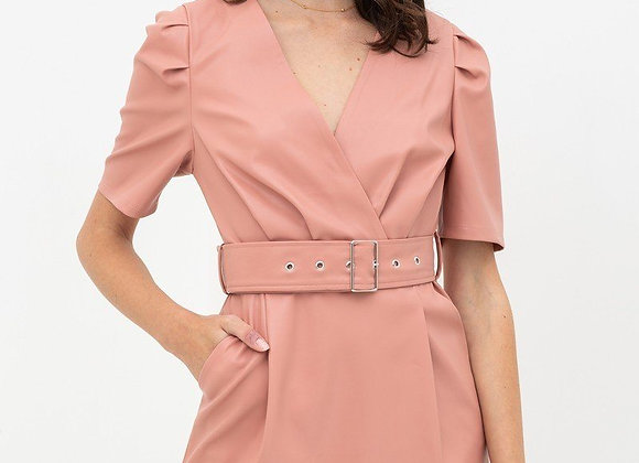 Pink Pleather Belted Sheath Dress