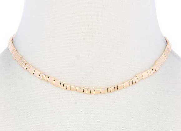 Metal Gold Block Semi-Choker Necklace