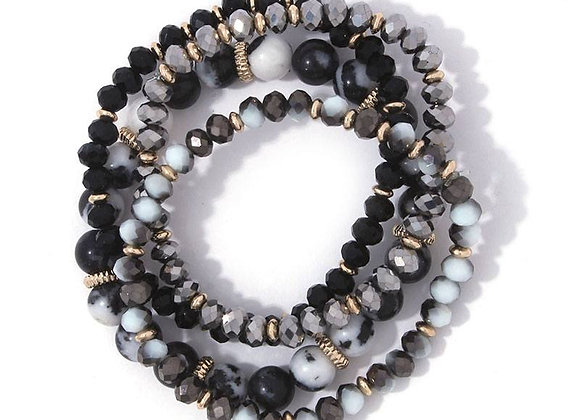 Stylish Black Beaded Stretch Bracelet Set