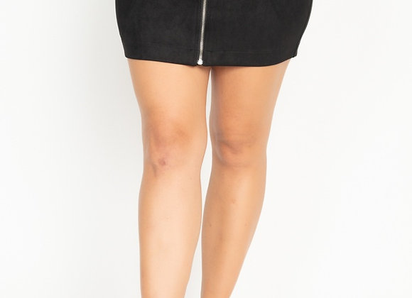Sexy Black Faux Suede Mini Skirt