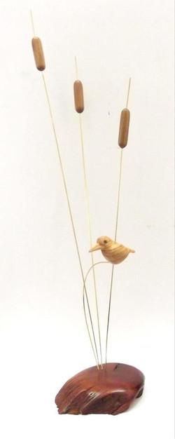 Malachite Kingfisher on reeds in Wild Olive, Red Ivory, Stinkwood & brass
