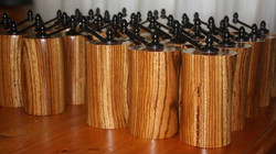 Salt & Pepper Grinders in Zebrawood - Commissioned by Madikwe Lodge