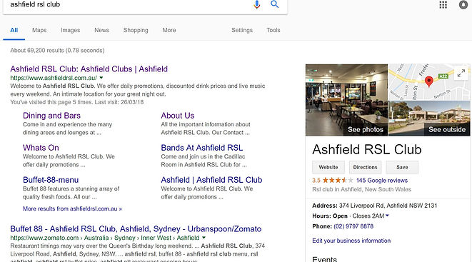 google my business page example from mad dog lola emarketing