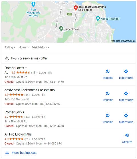 Google My Business google map display