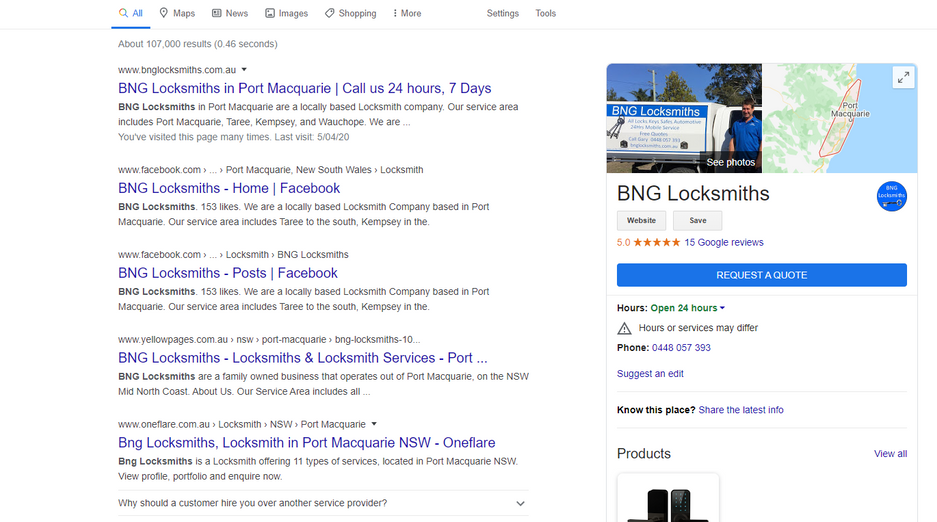 Google My Business Page for BNG Locksmiths by mad dog lola