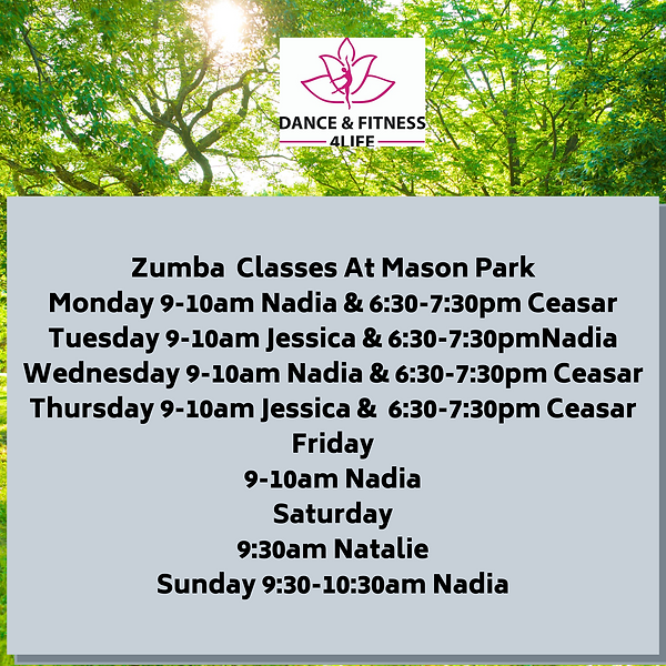 Zumba Classes At Park this week Thursday