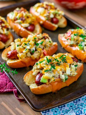 Egg Salad  & Potato Salad Topped Hot Dogs