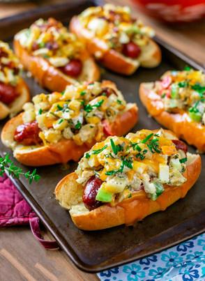 Egg Salad  & Potato Salad Topped Hot Dogs