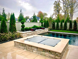 New landscaping around the pool and spa