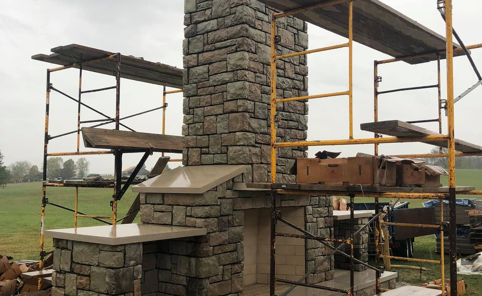 THE STONE ON THE OUTDOOR FIREPLACE