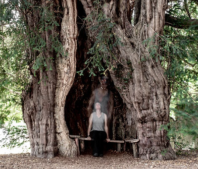 Self portrait with the ancient Yew tree