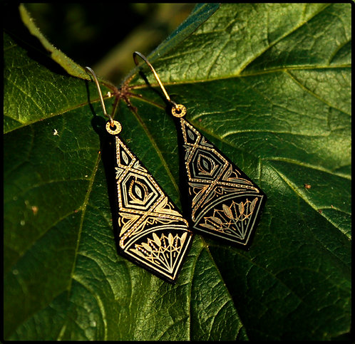 Damascene handmade earrings made with 24 kt. pure gold 6