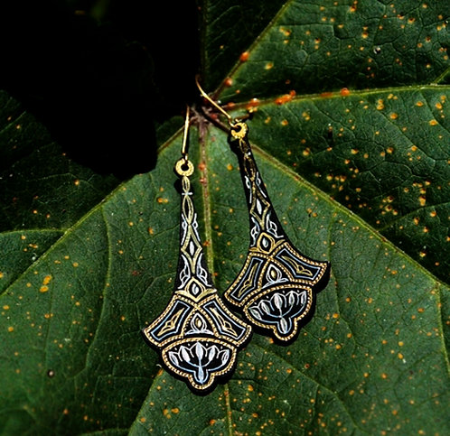 Damascene handmade earrings made with 24 kt. pure gold and silver / m7