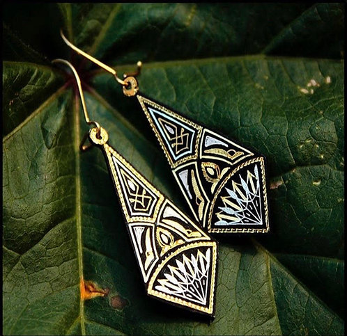 Damascene handmade earrings made with 24 kt. pure gold and silver 5