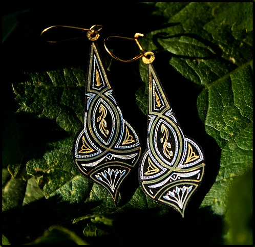 Damascene handmade earrings made with 24 kt. pure gold and silver 8
