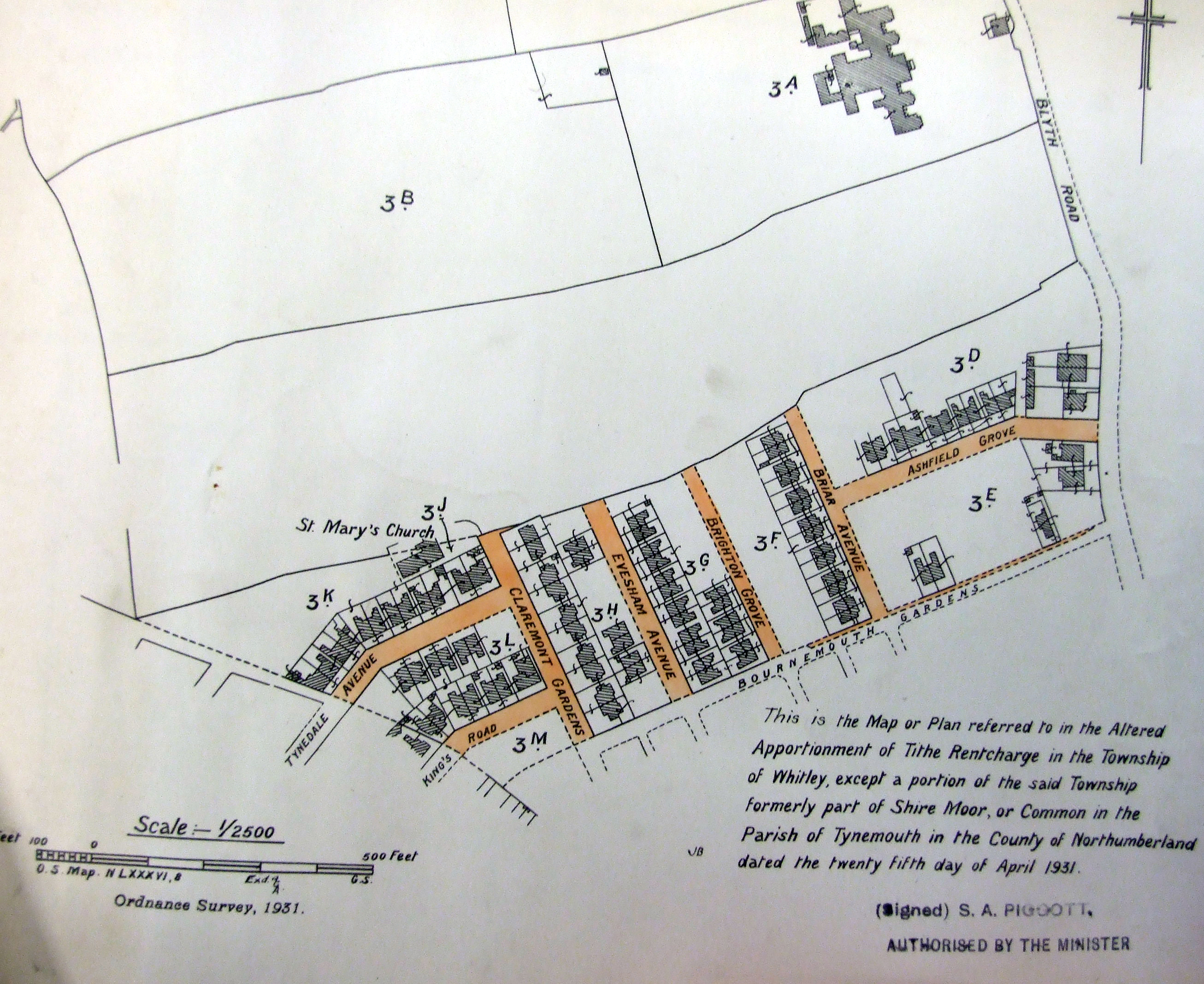 1931 showing the proposed location of St Mary's. Much of the parish was yet to be built.