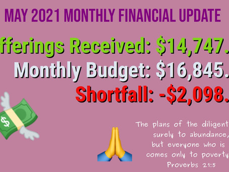 May 2021 Financial Update
