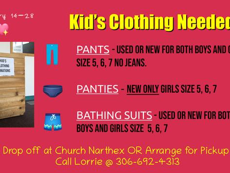 Kid's Clothing Needed!